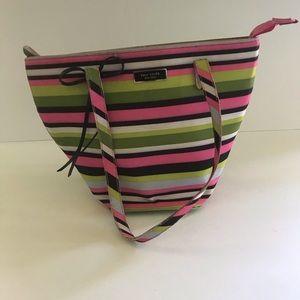Kate Spade Canvas Striped Handbag Tote Pink Green